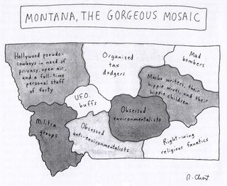 19960422 New Yorker Magazine map of Montana