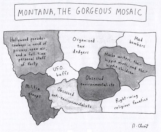 19960422 New Yorker Magazine map of Montana