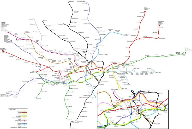 The actual london tube map